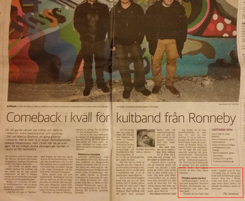 Artikel i Blekinge Läns Tidning/BLT 140125